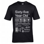Premium Funny 65 Year Old Package Care Label Instructions Motif  65th Birthday Men's T-shirt Top